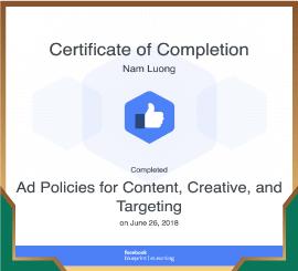 Chứng chỉ công nhận kiến thức cao cấp về chính sách quảng cáo Facebook