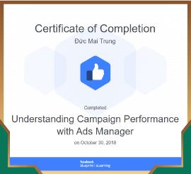 Chứng chỉ công nhận hoàn thành hoàn toàn các kỹ năng để trở thành đối tác của Facebook